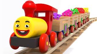 Çocuklar için öğrenme Ahşap Tren ile Şekilleri, Sayıları ve Renkleri Öğreniyoruz  Tino