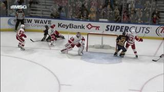 Mrazek slides across for fantastic save on Foligno