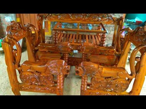 Latest Teak Wood Sofa Royal Finish, Carpenter Teak Wood Sofa Set Designs Pictures