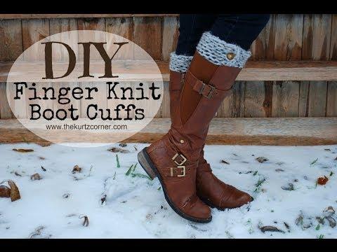 DIY Finger Knitting - 30 Minute Boot Cuffs