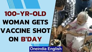 Covid-19: 100-yr-old woman celebrates her birthday with first vaccine shot: Watch | Oneindia News