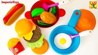 Cooking Playset - Hamburger, Hot-dog, French Fries, Ice Cream Playset - Toy Cutting Fruit Velcro