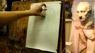 Обучение рисунку. Портрет. 17 серия: рисунок гипсовой головы Гаттамелаты, начало построения