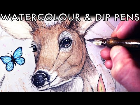 WATERCOLOUR and DIP PENS - Painting for my Mum