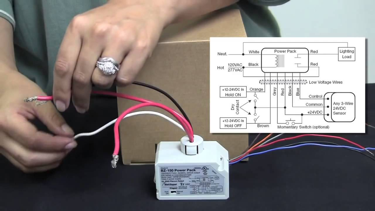 maxresdefault how to wire the bz 150 universal voltage power pack from occupancy sensor power pack wiring diagram at fashall.co