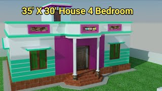 35 X 30 Feet 4 Bedroom House plan with 3D