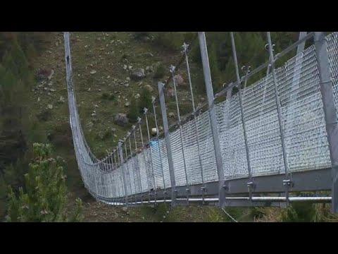 'World's longest' pedestrian suspension bridge opens in Switzerland