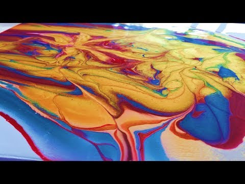 Starfish with Metallics Acrylic Pour Flow Art