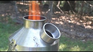 Survival cooking stove. Renewable fuel camping stove - Kelly Kettle
