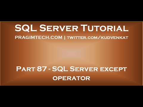 SQL Server except operator