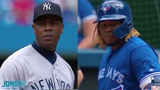 Vladimir Guerrero Jr  and Aroldis Chapman have a great 13 pitch battle, a breakdown