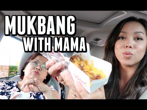 TRYING TO DO AN EATING SHOW (MUKBANG) WITH MAMA! -  ItsJudysLife Vlogs
