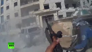 Killed in combat: Al-Nusra militants in chaotic urban warfare in Syria (POV cam footage)