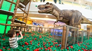 Kids Play in Playground with Giant Dinossaur and Ball Pit - Video for Kids