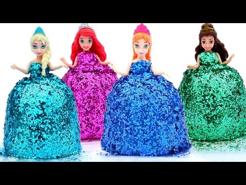 Thumbnail: DIY How Make Super Glitter Play Doh Disney Princess Dresses Frozen Elsa Ariel Anna MagiClip Play Doh