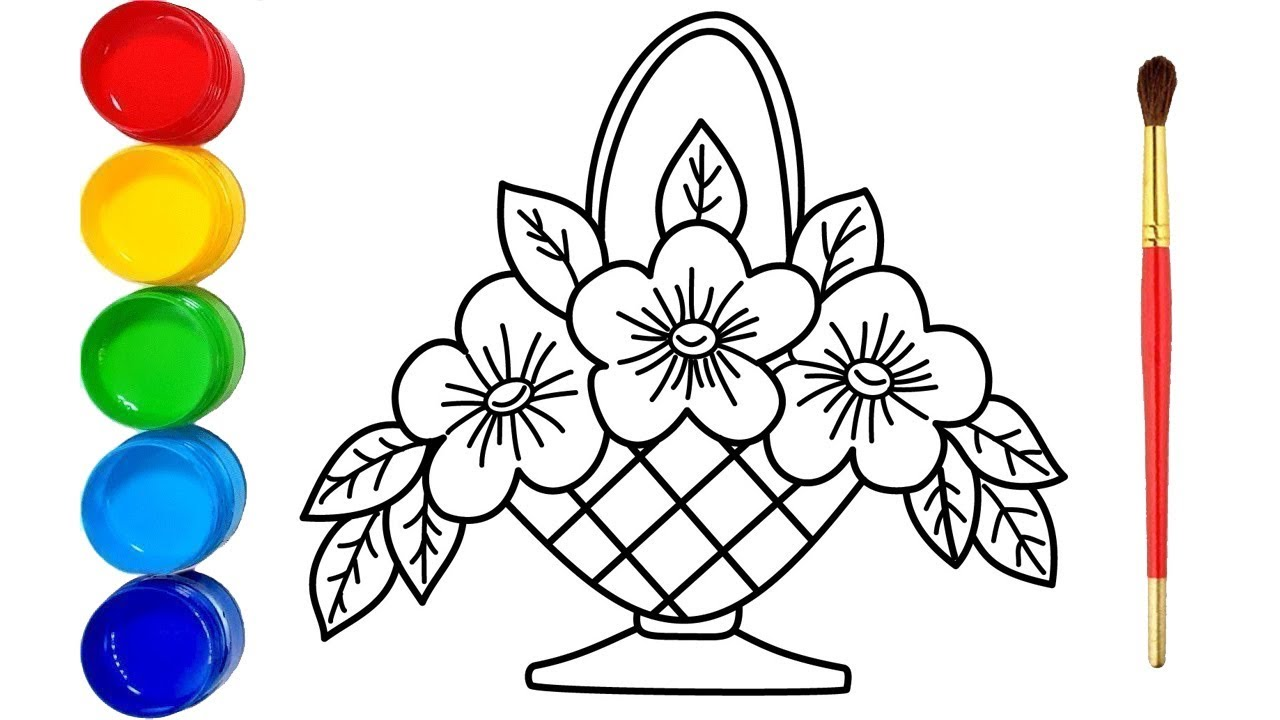 Glitter Flower Baskets Drawing And Coloring Pages Youtube