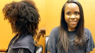 Straightening Kinky Natural Hair (Blow Dry and Flat Iron)