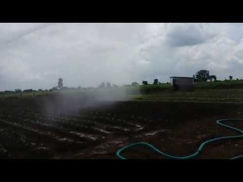 Rain gun irrigation in my natural farming