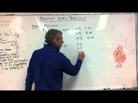 7th Grade:  Solving Percent Word Problems  2/14/14