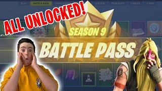 SEASON 9 BATTLE PASS (100% UNLOCKED) *NEW* - Fortnite Battle Royale