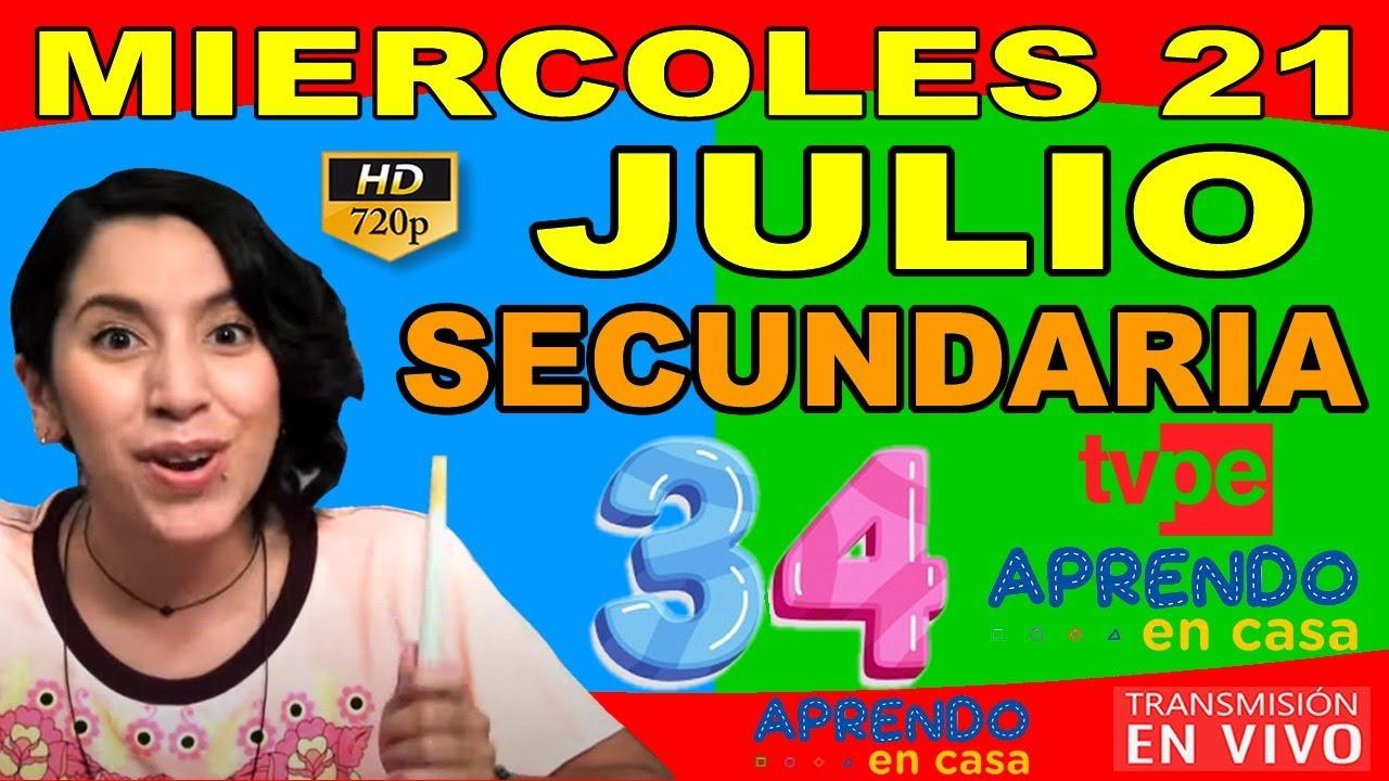 APRENDO EN CASA 🔴 MIERCOLES 21 DE JULIO 3 Y 4 GRADO DE SECUNDARIA TV PERÚ 🔵 - download from YouTube for free