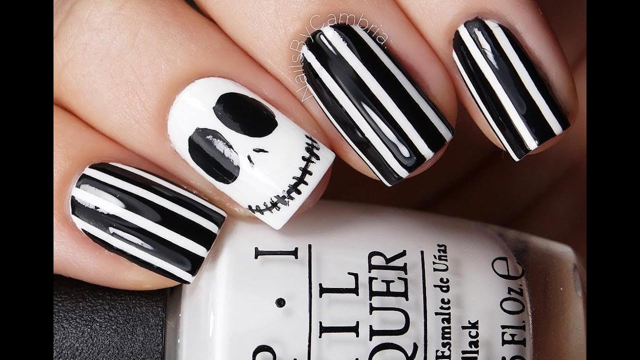 Hand Painting Jack Skellington Nail Art Tutorial with Brush - YouTube