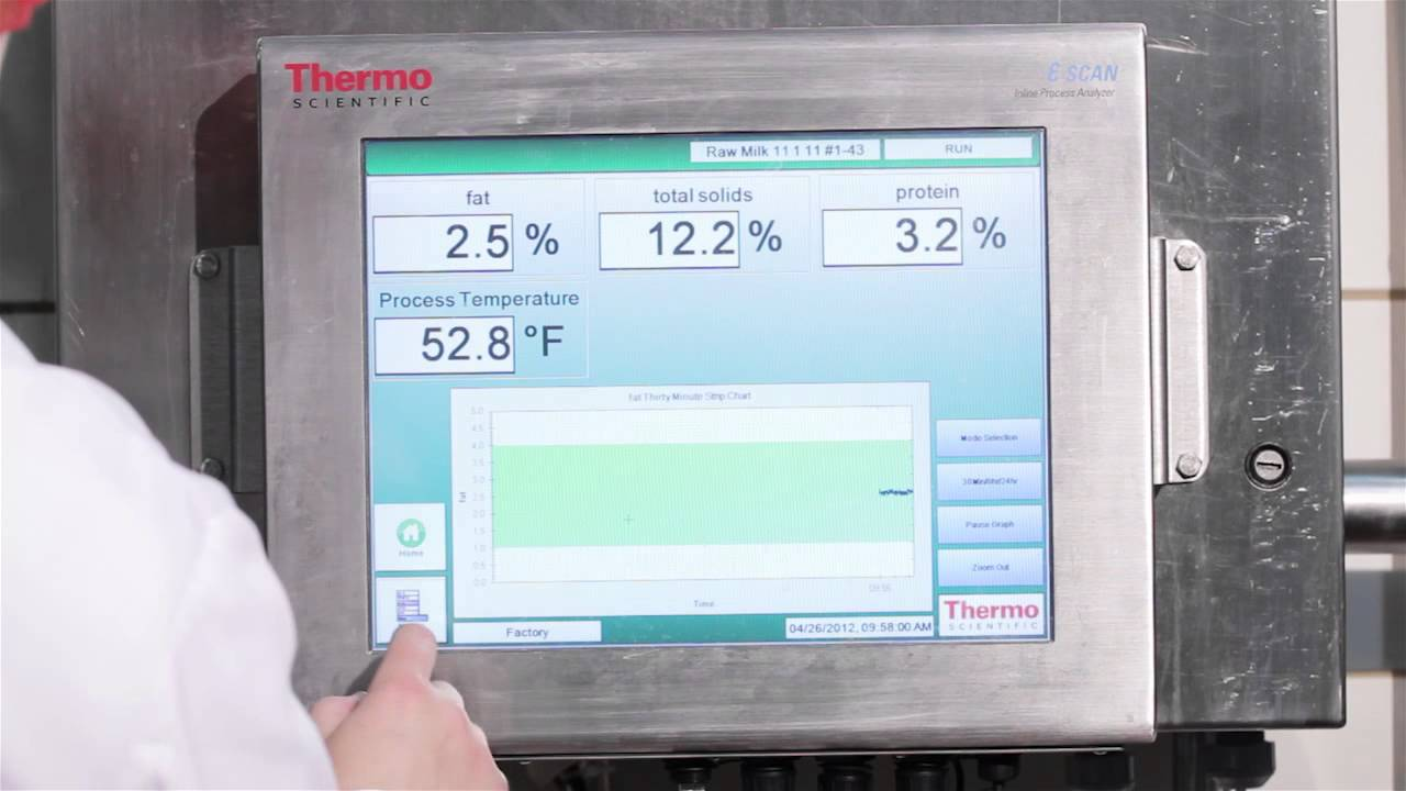 Thermo scientific e scan in line analyzer at burnett dairy youtube for Thermo scanner watch