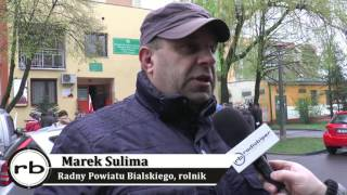 Strajk rolników pod budynkiem PZŁ w Białej Podlaskiej