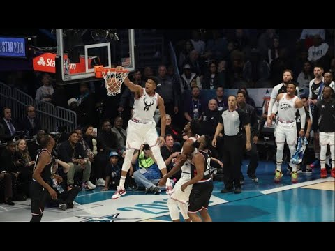 Steph Curry CRAZY HIGH Bounce Pass to Giannis Antetokounmpo for Dunk | 2019 NBA All-Star Weekend