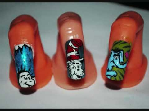 Dr Suess Inspired Nail Art 3 Tutorials In One Youtube