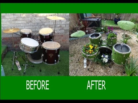 How to turn a cheap drum kit into a garden water feature