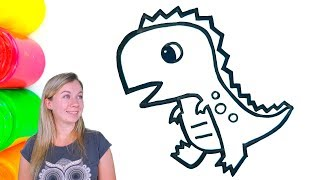 Glitter Dinosaur coloring and drawing for Kids