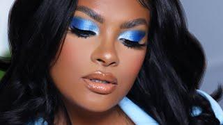 GRWM EASY SUMMERTIME BLUE EYESHADOW LOOK FOR BLACK GIRLS