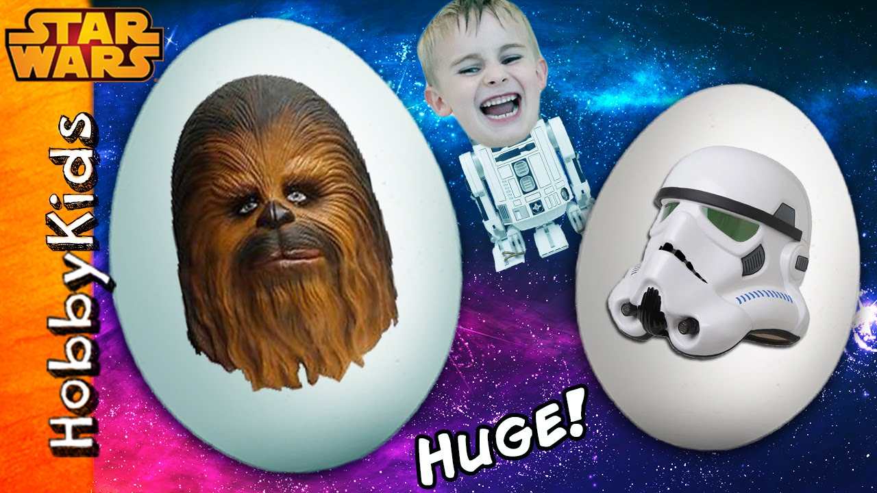2 giant star wars surprise eggs chewbacca storm trooper