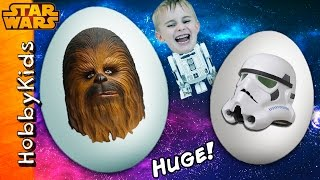 2 Giant STAR WARS Surprise Eggs! Chewbacca + Storm Trooper Play-Doh and Toys HobbyKidsVids