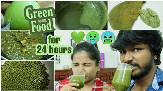 We ate Only Green food for 24 hours challenge in Tamil (Ram hated it)