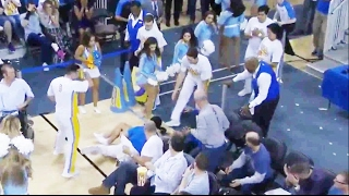 UCLA Cheerleader FALLS to the ground TWICE   UCLA vs Oregon  2/9/17