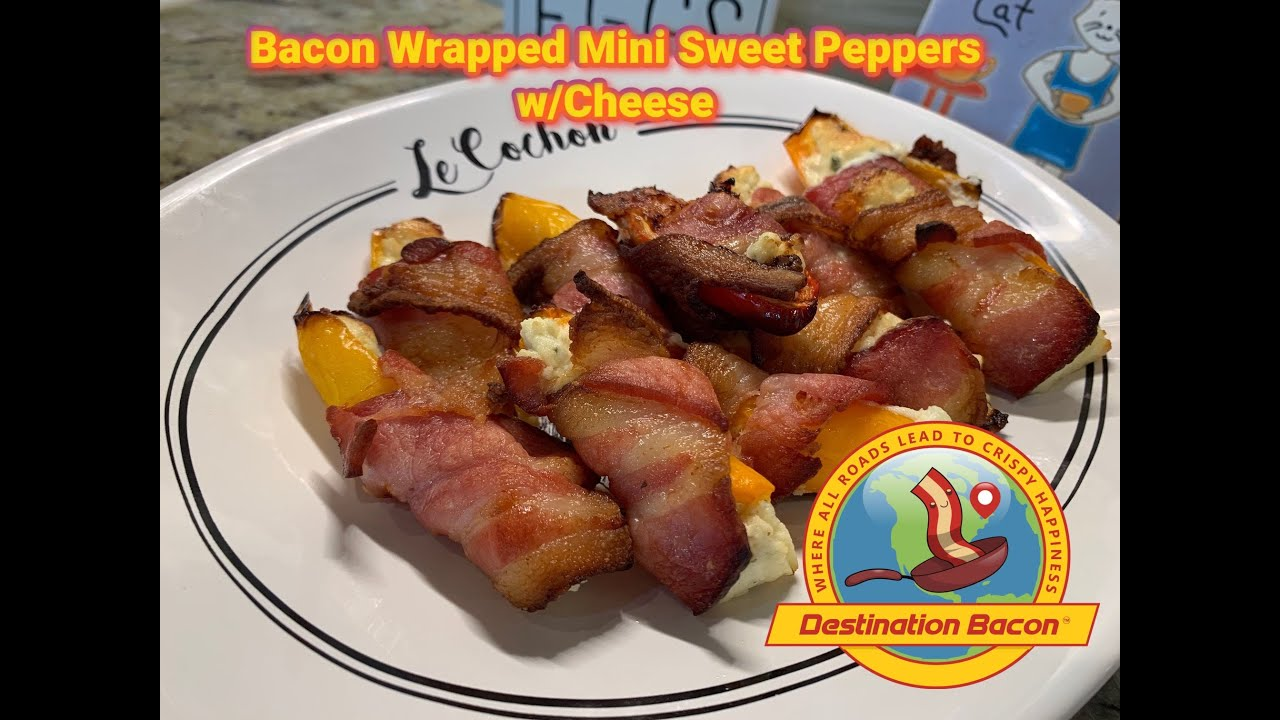 Bacon Wrapped Sweet Mini Peppers with Cheese!