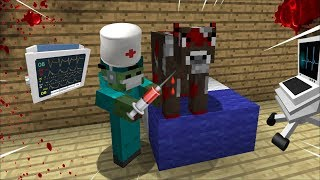 HOSPITAL SURGERY ON A VIRUS COW IN MINECRAFT / ZOMBIE BECOMES A DOCTOR MOD IN MINECRAFT !!