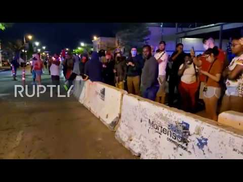 USA: Police Block Road Following Looting And Protests Over George Floyd's Death In Minneapolis