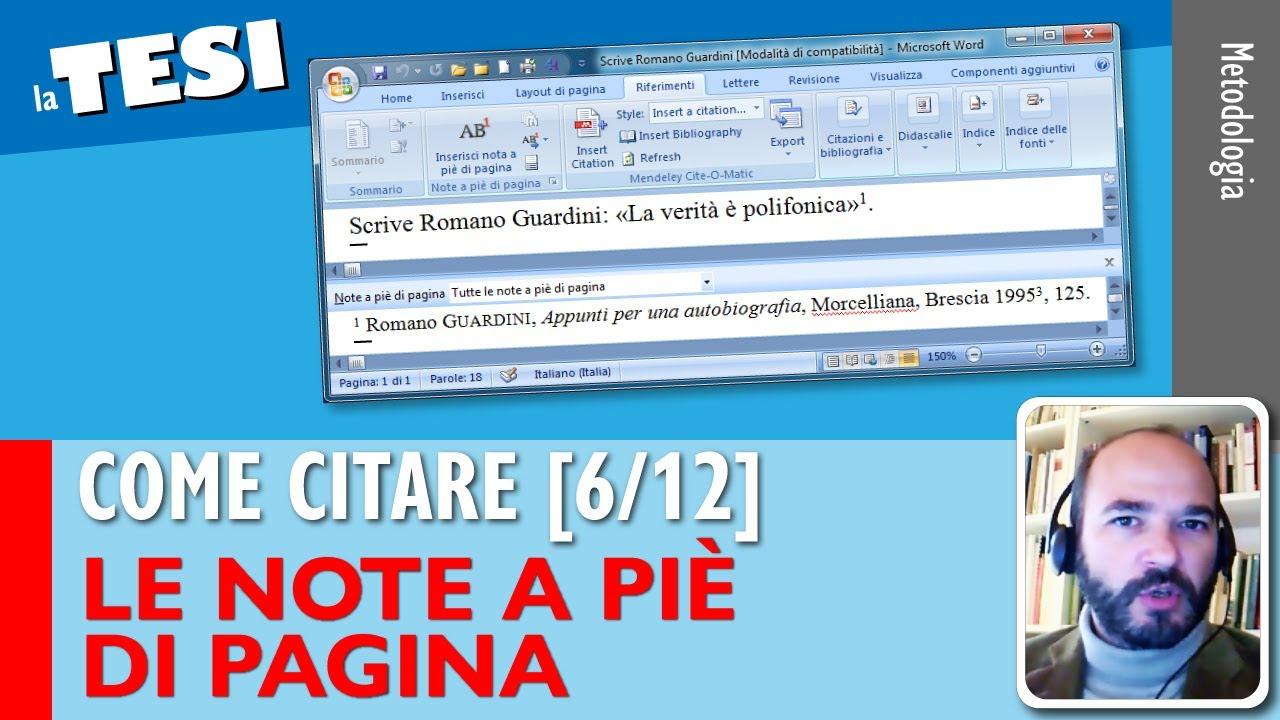 Tutorial 6 Scrivere Una Tesi Gestire Le Note A Piè Di Pagina Guida A Metodologia Generale