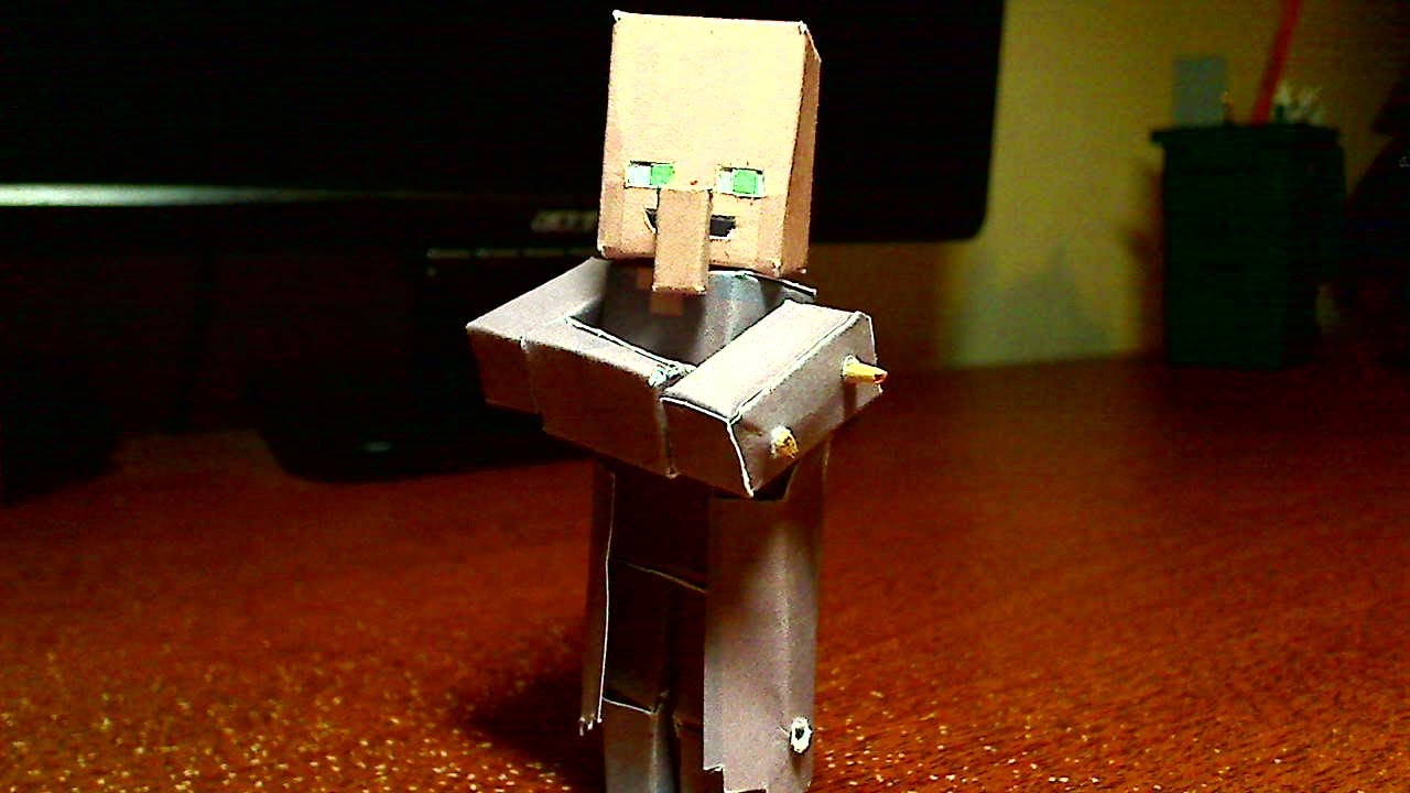 Papercraft How to make a Minecraft Papercraft Bendable 3D Villager