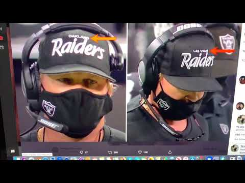 Jon Gruden Wearing Oakland Raiders Hat At Las Vegas Allegiant Stadium vs LA Chargers