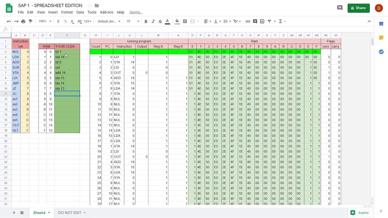 Download SAP-1 Spreadsheet Edition - Full Ben Eater Computer Emulator in Google Sheets
