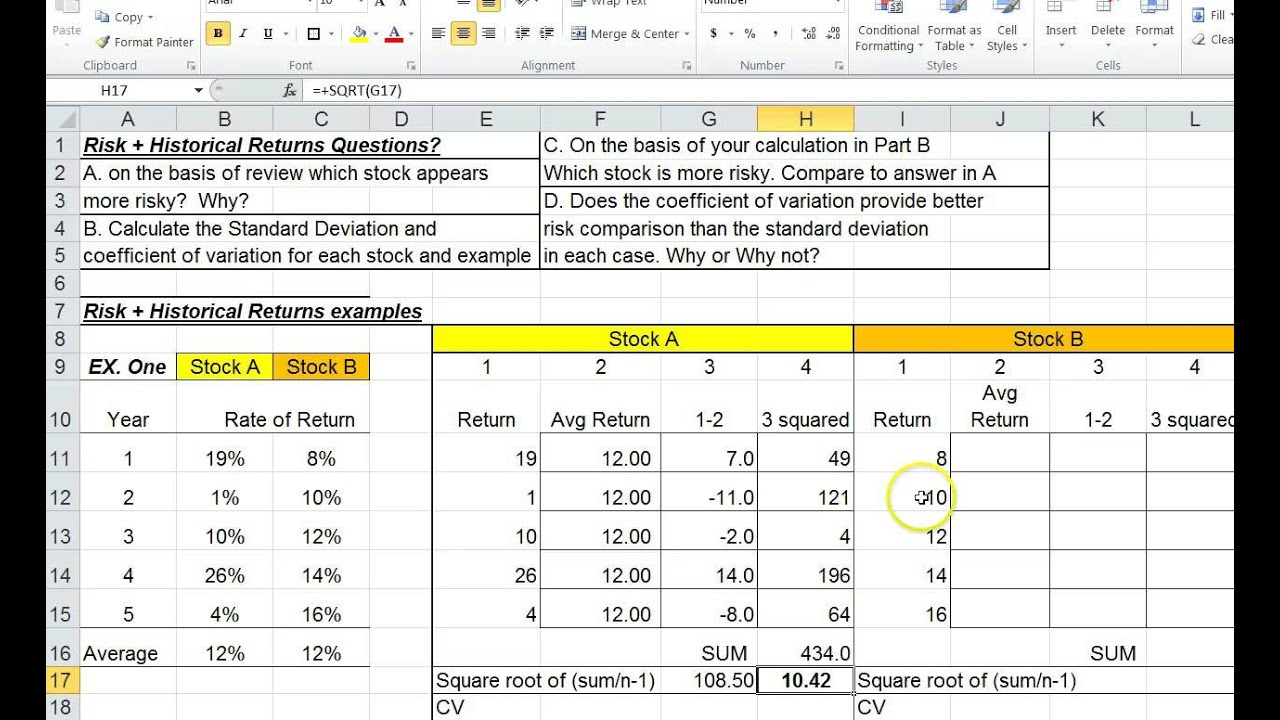 Using Standard Deviation To Find Stock Risk