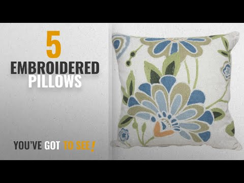 Top 10 Embroidered Pillows [2018]: Manor Luxe Crewel Embroidered Floral Decorative Pillow