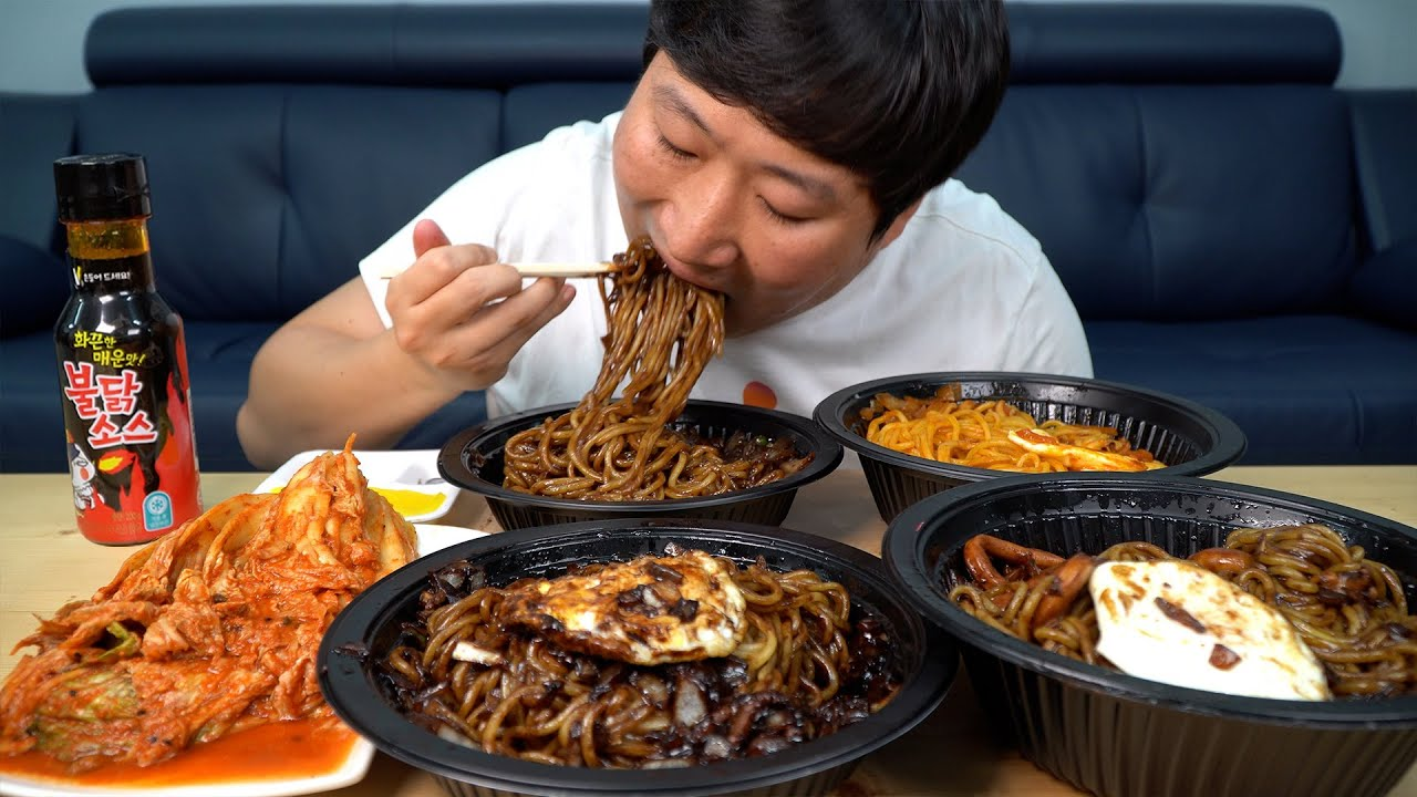 삼선, 간짜장, 사천짜장 까지~ 4종 짜장면 먹방!! (4 kinds of Jjajangmyeon, Black bean noodles) - Mukbang eating show