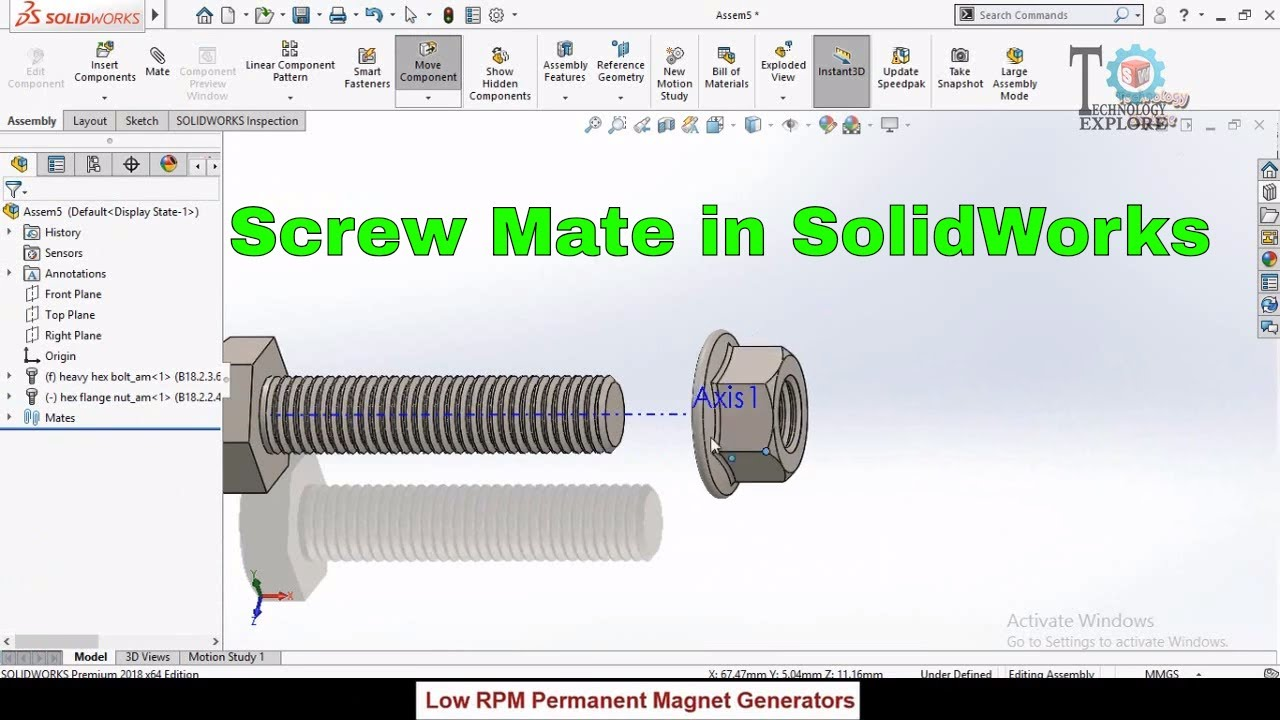 How to apply Screw Mate in SolidWorks to Assemble Nut and Bolt