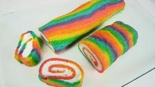 Rainbow Cake Roll/ Rainbowcake Roll (Regenbogen-Biskuit-Rolle)