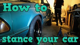 MUSTANG DRIFT BUILD (EP 2 Stancing and lowering the car)